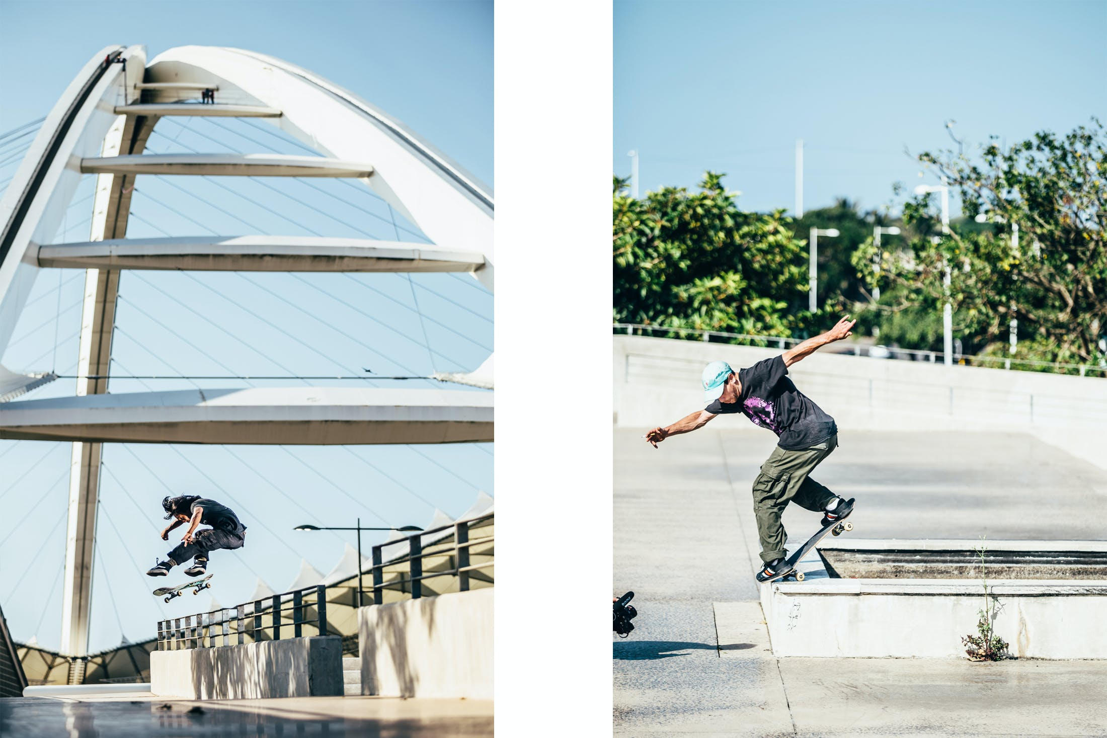 Darly Dominguez and Dylan Hughes Skateboardng in Durban